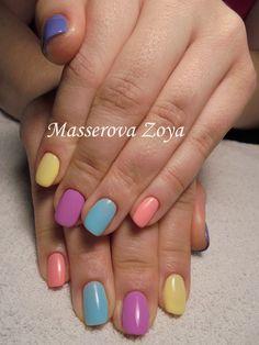 , Bright colorful nails, July nails, Multi-color nails, Summer colorful nails, Summer gel polish 2017, Summer nail art , Summer nails ideas