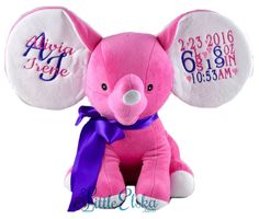 Personalized stuffies embroidered with name, birth stats, or custom message.... your choice of colors, fonts and endless design options!  They make the BEST gift/keepsake for any occasion.