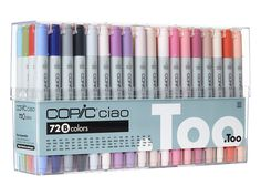 This outstanding performance has distinguished Copic markers as the celebrated coloring tool within professional, semi-professional and hobby circles alike. Copic Ciao Markers: 72 Color - Set A. Copic Ciao Markers: 72 Color - Set B. Copic Ciao Marker, Copic Markers, Alcohol Markers, Colouring Pages, Coloring Books, Adult Coloring Pages, Zentangle, Banners, Lettering