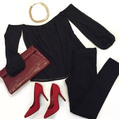"""Snazzy & ready for Saturday night!! Shop our """"off shoulder"""" top ($24.99), """"black ankle skinny jeans"""" ($34.99), """"fold over croc clutch"""" ($22.99) available at #sophieandtrey, """"gold & crystal bib"""" necklace"""" ($18.99), """"red heels"""" ($24.99 in store only!) available at #statements and online at www.sophieandtrey.com! #saturdaynight #datenight #fancy #style #trendy"""
