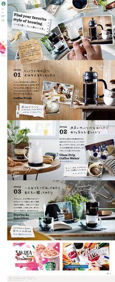 ・画像を使っていい感じに整列を崩してる ・あたたかみ Food Graphic Design, Food Design, Web Ui Design, Menu Design, Site Design, Layout Design, Brochure Design, Communication Design, Coffee Design