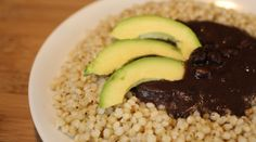 Wondergrain sorghum with a black bean sauce.