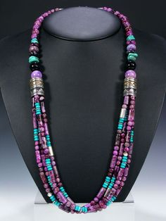 Tommy Singer Navajo Jewelry Necklaces and Pendants - turquoise, purple, multi strand: