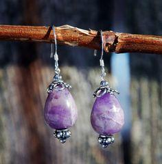 Teardrop Amethyst earrings sterling earrings by KarmaKittyJewelry