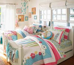 Find shared bedroom ideas and inspiration at Pottery Barn Kids. Discover room ideas that will be able to handle multiple kids and styles. Summer Bedroom, Girls Bedroom, Bedroom Decor, Bedroom Ideas, Bedroom Designs, Bedroom Themes, Bedroom Pictures, Bedroom Bed, Bedroom Colors