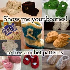 Beautiful Baby Booties - 10 free crochet patterns! @ http://www.ravelry.com/patterns/library/princess-shoes