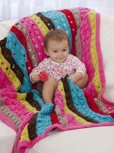 Ten Row Baby Afghan Modify to make a wrap