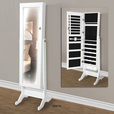 Elegant Mirrored Jewelry Storage Cabinet - White or Black at 48% Savings off Retail!