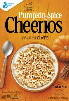 Pumpkin Spice Cheerios. Nutmeg, cloves, cinnamon, pumpkin puree. Limited edition. Coming to US grocery stores in the fall of 2016. 08/23/16: So good! Bought 2 boxes. Liked this much better than original Cheerios.