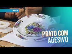 Adesivagem em prato de vidro transparente por Mamiko Yamashita - YouTube Decoupage Plates, Slime, Stencils, Decorative Plates, Tableware, Diy, Painting, Embroidery Stitches, Decorated Jars