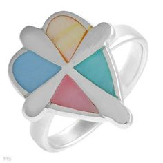Mother-Of-Pearl Heart/Cross ring