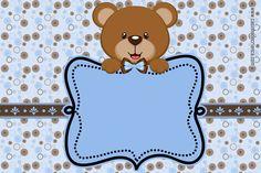 convite chá de bebê ursinho marrom e azul imprimir grátis