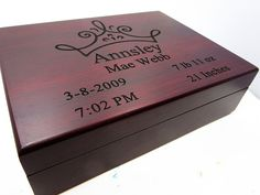 Personalized Baby Keepsake Gift Box in Rosewood by AwardSourceLLC
