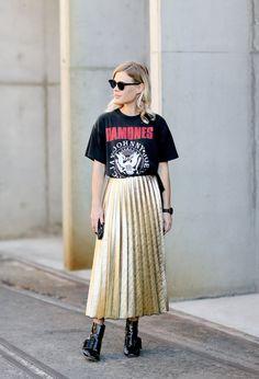 3 Ways To Style A Pleated Metallic Skirt — Bloglovin'—the Edit