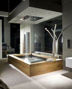 Beautiful wooden bath with overhead rain shower.