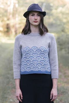 svana pullover by dianna walla / from the glen collection / in quince & co. chickadee, colors delft, egret, and iceland