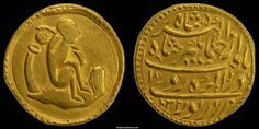 Indian Coins, Mughal. Nuruddin Jahangir , 1605-1627 AD, Gold Mohur (11.18 grams; 21.2 mm.), die-axis 1 o'clock.   Obv. Water carrier (Aquarius) . A man seated right with pitcher over shrouder whence pours a stream of water, within double circles with dots between.
