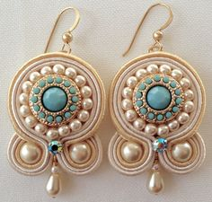 Soutache Earring Embroidered Earring Soutache by PureBlissJewelry Gold Bar Earrings, White Earrings, Shibori, Fabric Earrings, Rare Gemstones, Soutache Jewelry, Minimalist Jewelry, Handmade Necklaces, Custom Jewelry