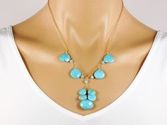 Turquoise Statement Necklace   14K Gold Filled  by Redondo on Etsy