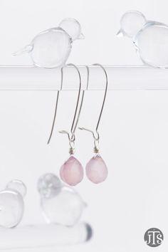 Baby Pink Chalcedony Earrings in Silver, Long Kidney Ear Wire, Kidney Earrings, Chalcedony Kidney Earrings - for Her, byJTSjewelry by byJTSjewelry on Etsy