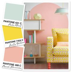 These pleasant pastels may be soft but when combined together they are certainly striking. I can envision the light mint paired with a richer yellow and peachy pink as a great summery palette for an August wedding. by Sarah Hearts Pastel Girls Room, Pink Room, Bedroom Colour Palette, Bedroom Colors, New Living Room, My New Room, Yellow Nursery, Bedroom Yellow, Pallets