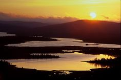 Finland- midnight sun (does not set for 73 days during summer in Lapland)