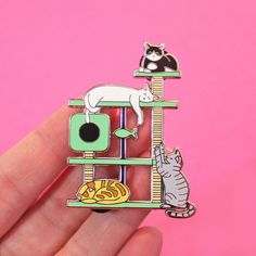 'KITTY PARADISE' CAT TREE ENAMEL PINS A BIG 55mm tall silver-plated enamel pin for cat lovers, featuring various kitties playing &...