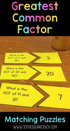 GCF Matching Center   GCF Matching Game   Greatest Common Factor Practice