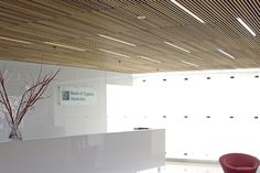 Ceiling panels ceilings and timber cladding on pinterest - Wood slat ceiling system ...