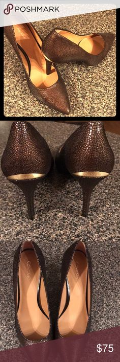 """Calvin Klein chic heels Stylish, fabulous and chic.  Calvin Klein - Gayle pumps.  New never worn (no box / no tags) Size 10 Brown """"pebble like leather"""" Gold accents. Calvin Klein Shoes Heels"""
