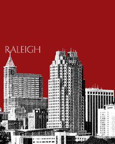 Raleigh Skyline - Dark Red Digital Art  - Raleigh Skyline - Dark Red Fine Art Print