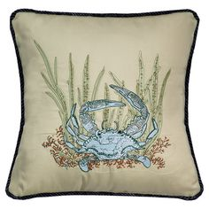 Throw pillow with a crab and seascape motif.     Product: PillowConstruction Material: 100% Cotton cover, polyester a...