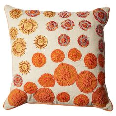 Add a pop of pattern to your sofa or favorite arm chair with this cotton pillow, showcasing an eye-catching abstract floral motif.   Pro...