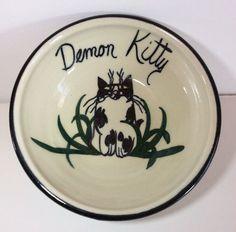 "Demon Kitty Cat Food Water Dish Bowl 5.5"" Pottery Signed Black White  | eBay"