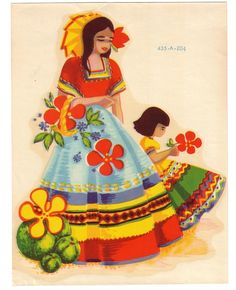 Vintage Meyercord Decal-Mexican Lady and Child Fiesta Colors