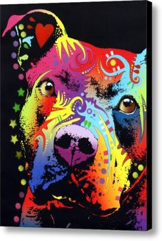 Thoughtful Pitbull Warrior Heart Canvas Print / Canvas Art By Dean Russo