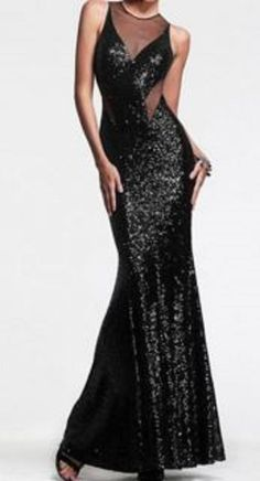 Sexy Round Neck Voile Splicing Backless Mermaid Sleeveless Women's Maxi Dress #Sparkly #Black #Sequin #Cut_Out #Maxi #Dress #Holiday #Fashion