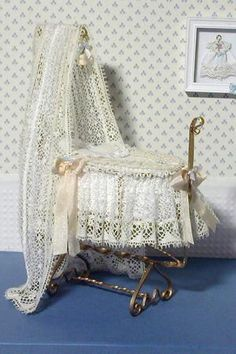 "A bassinet, bassinette, or cradle is a bed specifically for babies from birth to about four months, and small enough to provide a ""cocoon"" that small babies find comforting. Miniature Rooms, Miniature Furniture, Dollhouse Furniture, Baby Bassinet, Baby Cribs, Cradles And Bassinets, Moise, Barbie Furniture, Baby Bedroom"