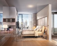 ห้องนอนสวยๆ ขนาดพอเหมาะ กับวิวในเมือง @ The Rich นานา