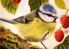 Оригинал схемы вышивки «синичка и ягодки»
