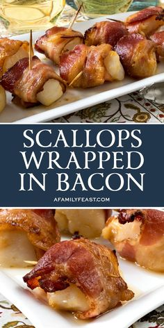Scallops Wrapped in Bacon - A Family Feast® - There are a few tips and tricks to making the perfect Scallops Wrapped in Bacon, and we are sharing - Seafood Dishes, Fish And Seafood, Seafood Recipes, Tapas Recipes, Recipies, Dinner Recipes, Bacon Appetizers, Appetizer Recipes, Party Recipes