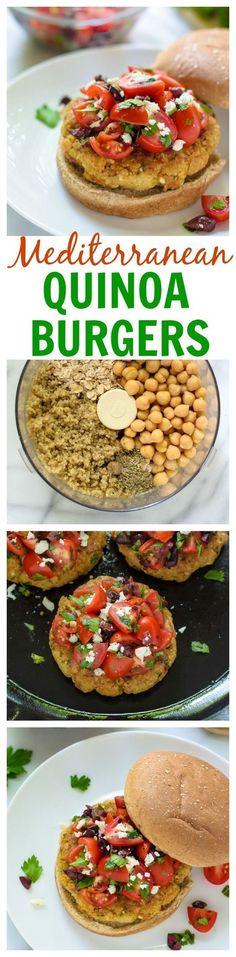 Feta Stuffed Mediterranean Quinoa Burgers. Crispy, fresh, and great leftover too! healthy dinner idea.