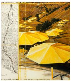 Christo and Jeanne-Claude, The Umbrellas (Project for Japan and USA), 1987. Graphite, charcoal, pastel, wax crayon; map and acrylic on paper collage