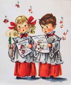 #1051 50s Elizabeth Voss Glittered Choir Kids-Vintage Christmas Card-Greeting