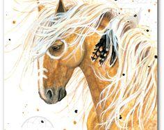 Majestueuze paarden Palomino geest verf Native veren - ArT Prints door Bihrle mm84