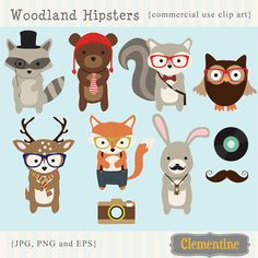 Hipster clip art images, royalty free and commercial use OK! Includes hipster fox, raccoon, deer, squirrel, bear, owl, and rabbit clip art. Also includes vector EPS file.Clip art images are 6 inches,Format: PNG (300 dpi, transparent backgrounds), JPG and EPS.