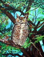 My painting of an owl in acrylic. Prints may be going for sale on ebay in various sizes soon.