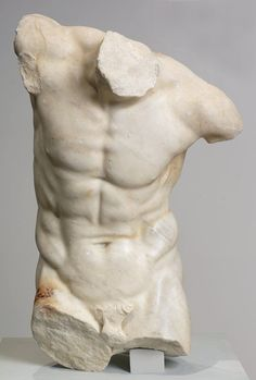 Torso of a Dancing Faun, 1st century B.C.  Graeco Roman. In its original complete form, this figure would have had a goat tail, still partially visible, pointed ears and small horns characteristic of mythological fauns. Ancient Romans associated fauns with the god Faunus who dwelt in woodlands and fields, and was believed to control the fertility of livestock. This remnant of a marble faun may be a Roman copy of an earlier Greek bronze sculpture. Minneapolis Institute of Arts
