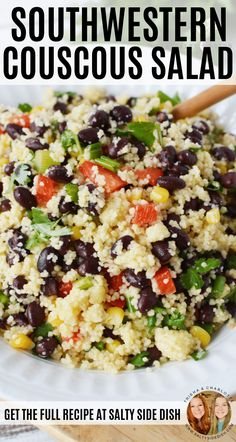 Southwest Couscous Salad Recipe with Chopped Peppers, Sweet Corn, and black beans, a delicious unique Mexican Inspired Healthy Side Dish Couscous Salad Recipes, Salad Recipes For Dinner, Gourmet Recipes, Vegetarian Recipes, Cooking Recipes, Healthy Recipes, Cake Recipes, Healthy Cooking, Black Beans