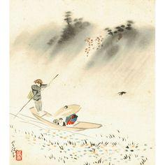 """Pregiata pittura su shikishi (色紙) dedicata al mese di marzo, realizzata nei laboratori artistici della Otsuka Kogeisha (大塚巧藝社) di Kyoto, riproduzione di un'opera dell'artista Ogawa Usen (小川芋銭) intitolata """"Pioggia di primavera"""" (春雨). Al centro della scena un traghettatore trasporta, su un battello watashibune (渡し船), un bimbo in compagnia della mamma che si ripara da una fitta e sottile pioggia primaverile sotto un grande cappello di paglia... (continua)"""